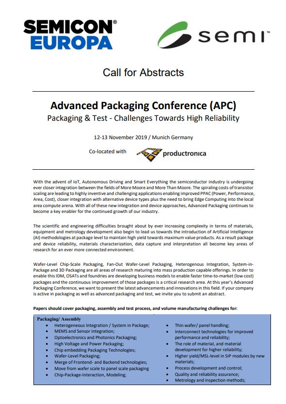 Call for abstracts APC Conference